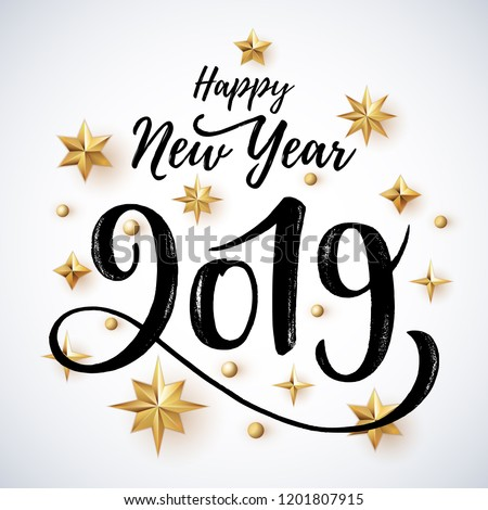 2019 hand written lettering with golden Christmas stars on a white background. Happy New Year card design. Vector illustration EPS 10 file.