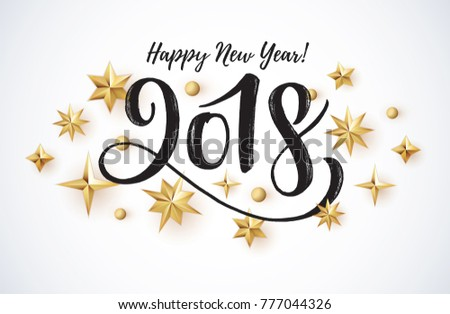2018 hand written lettering with golden christmas stars on a white background happy new year