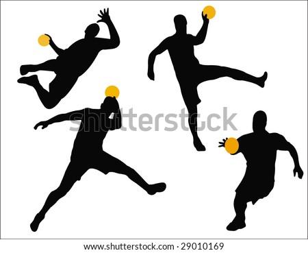 handball player silhouettes