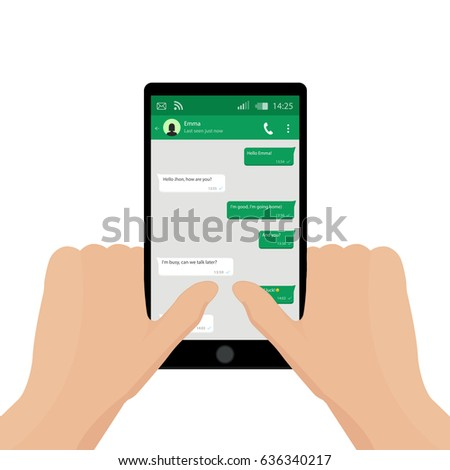 2 Hands holding mobile phone. Vector illustration. Social network concept. Vector. Messenger window. Chating and messaging concept. Green chat boxes.