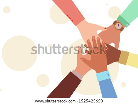 Hands of diverse group of people putting together. Concept of cooperation, unity, togetherness, partnership, agreement, teamwork, social community or movement. Flat style vector illustration.