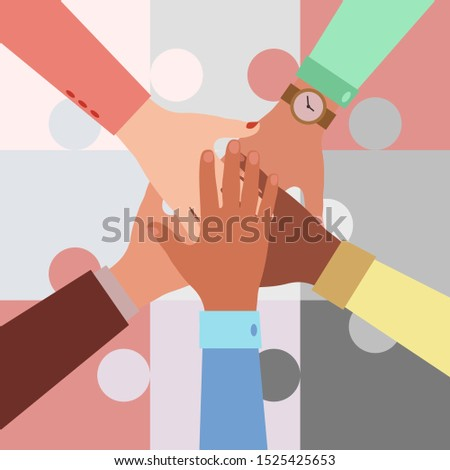 Hands of diverse group of people putting together on a puzzle background. Concept of cooperation, unity, togetherness, partnership, agreement, teamwork. Flat style vector illustration.