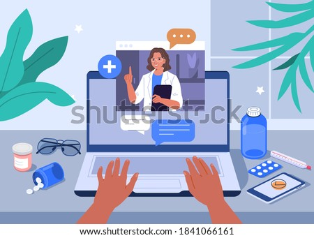 Hands Typing on Laptop with Video Call on Screen. Patient having Online Conversation with Doctor. Modern Health Care Services and Online Telemedicine Concept. Flat Cartoon Vector Illustration.