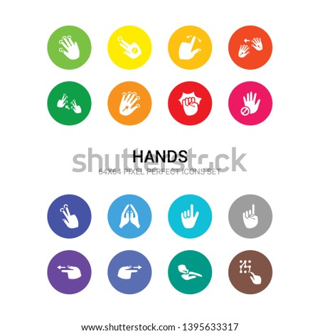 16 hands vector icons set included pattern lock gesture, pinch, point right, point to left, pointing hand, pointing up, prayer gesture, press with two fingers, prohibition  gesture, punch, push all