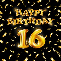16 Happy Birthday message made of golden inflatable balloon sixteen letters isolated on black background fly on gold ribbons with confetti. Happy birthday party balloons concept vector illustration