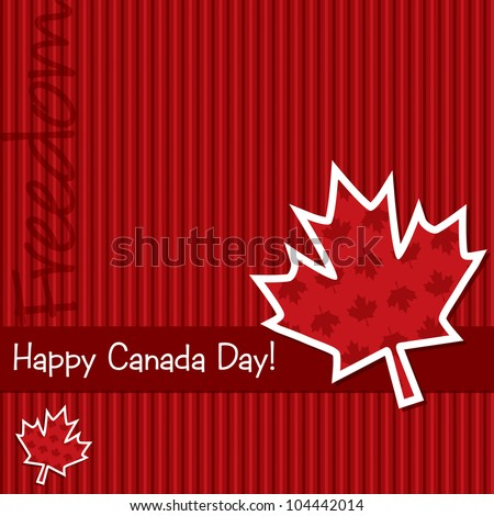 'Happy Canada Day' sticker card in vector format.