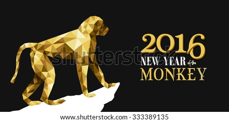 2016 Happy Chinese New Year of the Monkey with fancy golden low polygon triangle ape and label illustration. EPS10 vector.