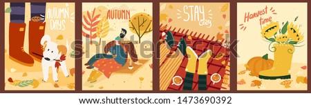 happy cute couple on autumn