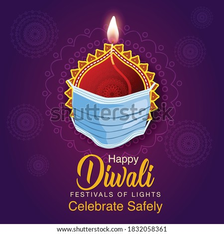 Happy Diwali celebration background. Top view of banner design decorated with illuminated oil lamps on patterned yellow dark background. vector illustration. covid corona virus concept