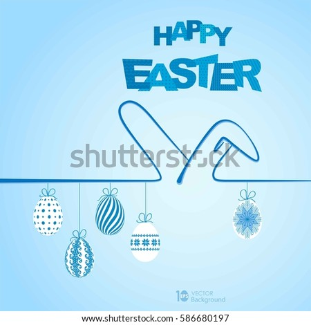 Happy Easter Background with ears rabbit and eggs. Vector eps 10.