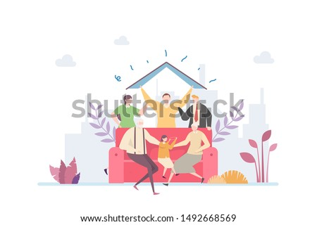 Happy Family Vector Illustration Concept Showing happy big family member posing forming a house visual, Suitable for landing page, ui, web, App intro card, editorial, flyer, and banner.