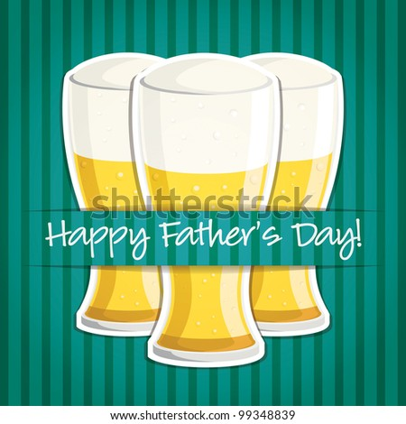 """""""Happy Father's Day"""" beer card in vector format."""
