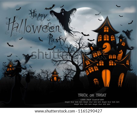 Happy Halloween background with pumpkin and ghost, haunted house and full moon. invitation template for Halloween party. Vector illustration