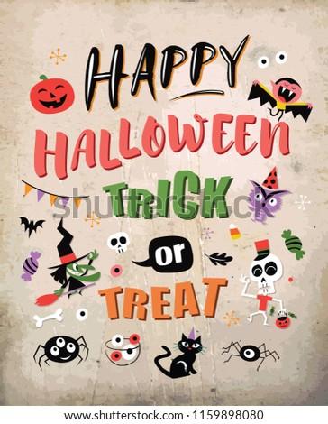 Happy halloween. Vector illustration with halloween design elements. Trick or treat.