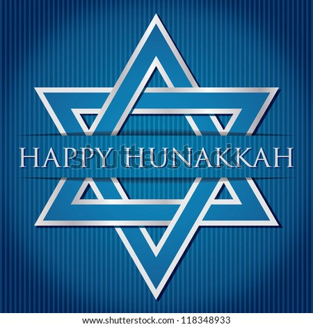 """Happy Hanukkah"" blue star of David card in vector format."