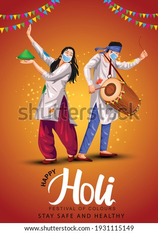 Happy holi festival of India culture background. vector illustration of couple playing holi dance. covid corona virus concept