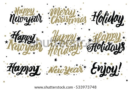 happy holidays happy new year merry christmas christmas typography for greeting card vector illustration