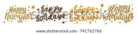 """""""Happy Holidays, Happy New Year, Merry Christmas"""". Holidays typography for greeting card isolated on white background. Gold glitter, golden 3d letters and chocolate cream typography. Vector."""