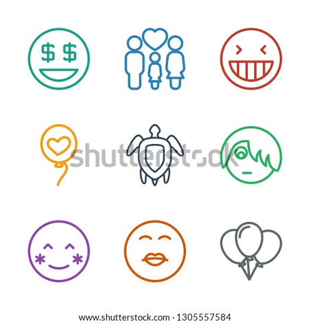 9 happy icons. Trendy happy icons white background. Included outline icons such as balloon, kiss emot, blush, emo emot, turtle, heart baloons, laughing emot. happy icon for web and mobile.