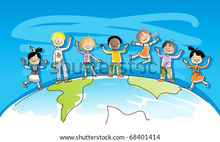 happy kids on top of the world, multiracial friends, watercolor style, grouped and layered for easy editing