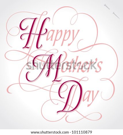 'happy mother's day' hand lettering; vector (eps8); - stock vector