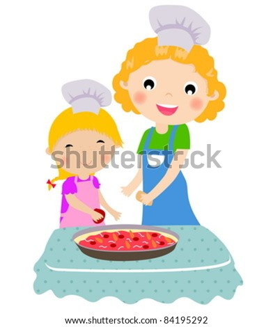 Happy mother with her daughter cooking in the kitchen