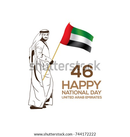 46 Happy National Day of UAE (United Arab Emirates) with traditional Arab man with UAE flag in vector sketch illustration.