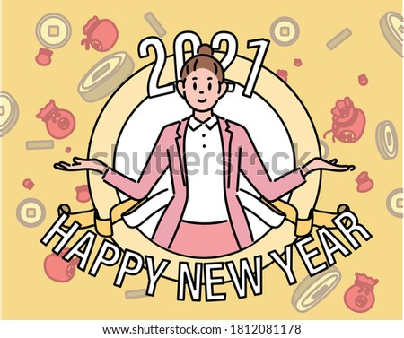 2021 Happy new year. A business woman is sticking out of the window. She is in a welcoming pose with her arms open. hand drawn style vector design illustrations.