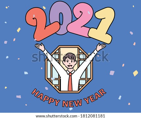 2021 Happy new year. A businessman is sticking out of the window. He is in a welcoming pose with his arms open. hand drawn style vector design illustrations.