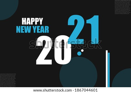 2021 happy new year abstract  blue color background with spheres and dots creative new design for background, banners, posters, fliers, calendar vector illustration.