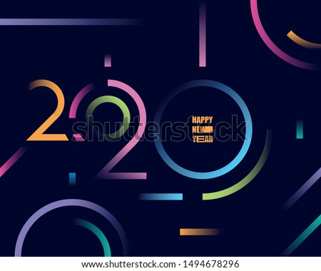 2020 happy new year abstract card design with gradient line