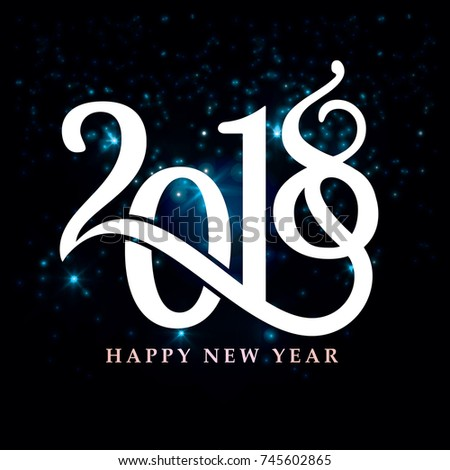 2018 happy New year, abstract vector illustration of Christmas card with calligraphic inscription 2018 and congratulations with happy New year background of fireworks,2018 happy New year