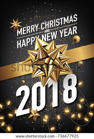 2018 happy new year and merry christmas vector greeting card and poster design with golden ribbon and light. #736677925