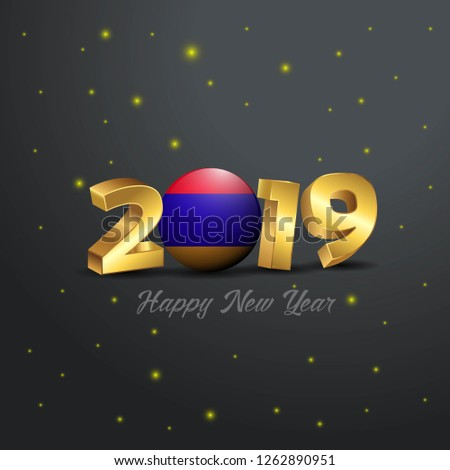 2019 Happy New Year Armenia Flag Typography. Abstract Celebration background
