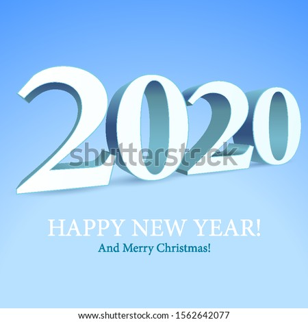 2020 Happy New Year Background, Card, Banner, Flyer Or Marry Christmas Themed Invitations. White Digits On Blue Blackground. Ready For Your Design. Vector EPS 10
