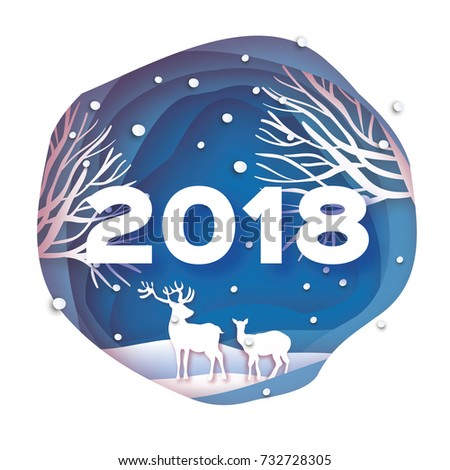 2018 Happy New Year Background. Deer couple in forest. Wild nature. Greetings Card for Christmas invitations. Paper cut snow flake. Circle cave frame. Text. Origami Mountains. Blue. Vector