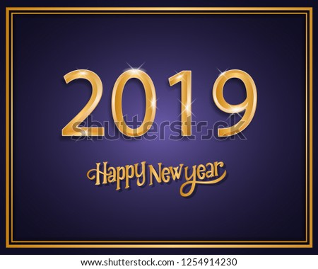 2019 happy new year background design - Shutterstock ID 1254914230