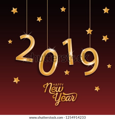 2019 happy new year background design - Shutterstock ID 1254914233