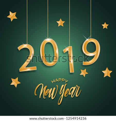 2019 happy new year background design - Shutterstock ID 1254914236