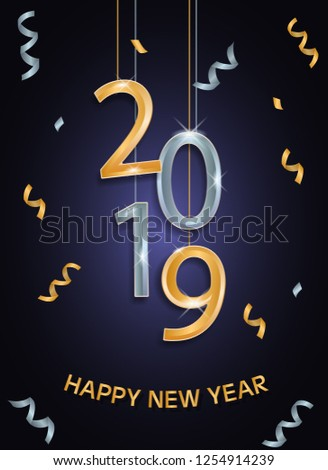 2019 happy new year background design - Shutterstock ID 1254914239