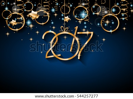 2017 Happy New Year Background for your Seasonal Flyers and Greetings Card or Christmas themed invitations. #544257277