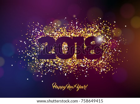 2018 happy new year background illustration with gold glitter typograph number vector holiday design for