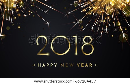 2018 happy new year background texture with glitter fireworks vector gold glittering text and numbers