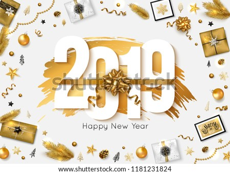 Stock Photo 2019 Happy New Year background. Vector illustration
