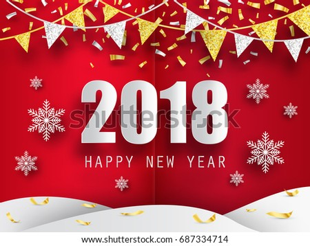 2018 happy new year background with 3d paper snowflakes vector background greeting card with
