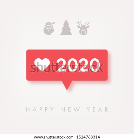 2020 Happy New Year background with follower notification symbol. Vector illustration concept for greeting card and social media mobile apps