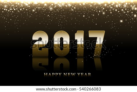 2017 Happy New Year background with golden falling stars, brown background #540266083