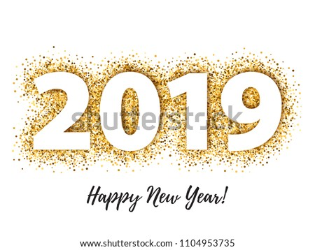 2019 happy new year background with golden glitter number christmas winter holidays design seasonal