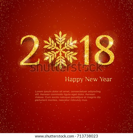2018 happy new year background with golden glitter numbers on red background vector holiday design for your flyer banner and greeting cards ez canvas