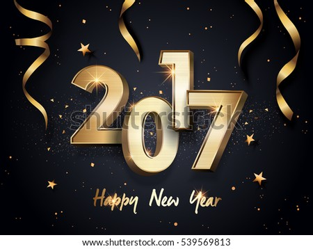 2017 Happy New Year background with golden ribbons #539569813